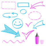 Design elements painted marker. Vector. Set of design elements drawn with a marker stock illustration