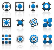 Design elements part 1. Collection of 12 design elements and graphics in blue and gray color. Part 1 Stock Image