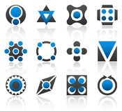 Design elements part 3. Collection of 12 design elements and graphics in blue and gray color. Part 3 stock illustration