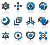 Design elements part 4. Collection of 12 design elements and graphics in blue and gray color. Part 4 royalty free illustration