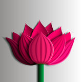 Design elements - pink  lotus flower 3D. You can also use as a template for a card. Vector illustrations Royalty Free Stock Photo