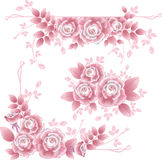 Design elements with pink silky roses. Stock Images