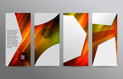 Set templates vertical flyer layout hot glow effect08. Design elements presentation template. Set vertical banners hot blurred background, backdrop gradient glow Royalty Free Stock Photo