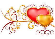 Design elements. Red and gold hearts with floral ornament Stock Photos