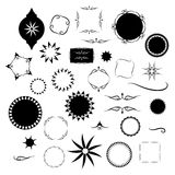 Design elements in round square and star shapes and Victorian styles stock image