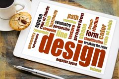 Design elements and rules word cloud royalty free stock photography
