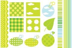 Design elements for scrapbook. Green design elements for scrapbook Royalty Free Stock Image