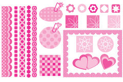 Design elements for scrapbook. Pink design elements for scrapbook Royalty Free Stock Photography