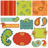 Design elements for scrapbook with paisley Royalty Free Stock Photography