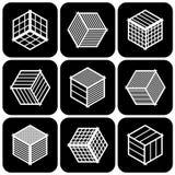 Design elements set. Cubic shape icons. Design elements set. Abstract hexagons. Cubic shape icons. Vector art vector illustration