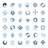 Design elements set. Abstract icons in blue colors. Vector art Stock Photo
