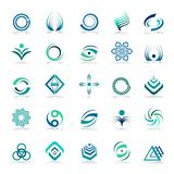 Design elements set. Abstract icons. Design elements set. Abstract icons in blue and green colors. Vector art Stock Image