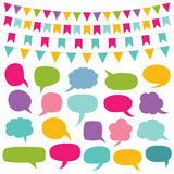 Design elements set - bunting and speech bubbles Royalty Free Stock Photography