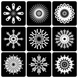 Design elements set. Contrast black and white abstract icons. Vector art stock illustration