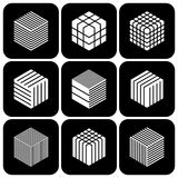 Design elements set. Cubic shape icons. Design elements set. Abstract hexagons. Cubic shape icons. Vector art Royalty Free Stock Photography