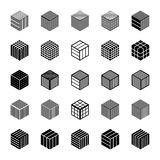 Design elements set. Cubic shape icons. Abstract hexagons. Vector art Royalty Free Stock Photography