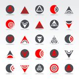 Design elements set. Abstract icons. Circle and triangle geometric shapes. Vector art Stock Illustration