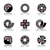 Design elements set. Circle, square and spiral shapes. A. Design elements set. Geometric circle, square and spiral shapes. Abstract icons. Vector art Stock Illustration
