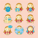 Design elements: set of icons. Set of icons with pretty girls. Background on separate layer Stock Photo