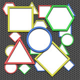 Design elements - set of multicolored geometric 3D frame. Colors - blue, yellow, green, red. All with shadows. Vector illustrations royalty free illustration