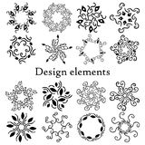 Design elements set, patterns, finials. Set of 16 calligraphic elements. Design elements set, patterns, finials. Vector. On a white background. Set of 16 Stock Images