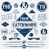 Design elements set and vintage catchword Stock Photo