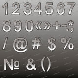 Design elements - silver 3D font, numbers and symbols Stock Image