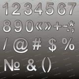 Design elements - silver 3D font, numbers and symbols. Set. Vector illustration Stock Image