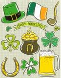 Design elements for  St Patricks Day. Shamrock, horseshoe, beer, pipe, hat,  Irish flag,  pot Royalty Free Stock Image