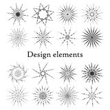 Design elements stars and snowflakes. Set of 16 elements. Royalty Free Stock Image