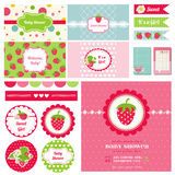 Design Elements - Strawberry Baby Shower Theme Royalty Free Stock Photos