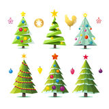 Design elements of stylized fir trees in several variants. Set of different elegant christmas trees. Design elements of stylized fir trees in several variants Royalty Free Stock Photo