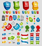Design elements: tags, stickers, ribbons. Royalty Free Stock Photos
