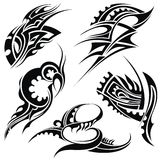 Design elements: tribal art. Set of different vector tribal tattoo elements Royalty Free Stock Photo