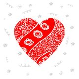Design elements for Valentine`s day or World Heart Day. Hand dra. Wn red heart with pattern Royalty Free Stock Images