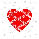 Design elements for Valentine`s day or World Heart Day. Hand dra. Wn red heart with pattern and ribbon Stock Photo