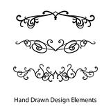 Design elements vector, hand drawn fancy ornate text or paragraph dividers Royalty Free Stock Images