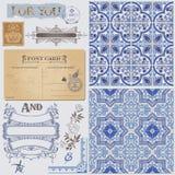 Design Elements - Vintage Postcard. Scrapbook Design Elements - Vintage Postcard with Seamless Victorian Backgrounds in Stock Photos