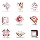Design elements in warm colors. Set 13. Royalty Free Stock Photo