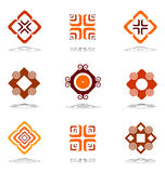 Design elements in warm colors. Set 3. Royalty Free Stock Photos