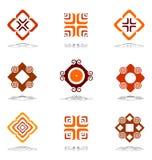 Design elements in warm colors. Set 3. Design elements in warm colors. Vector set 3 Royalty Free Stock Photos