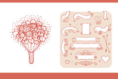 Design elements for wedding and honeymoon. Could be used in greeting card, wedding invitation, poster design, etc. Vintage style, hand drawn pen and ink vector illustration