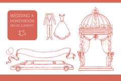 Design elements for wedding and honeymoon. Could be used in greeting card, wedding invitation, poster design, etc. Vintage style, hand drawn pen and ink royalty free illustration