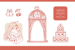 Design elements for wedding and honeymoon. Could be used in greeting card, wedding invitation, poster design, etc. Vintage style, hand drawn pen and ink stock illustration