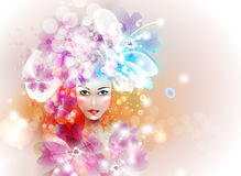 Design elements with woman face Royalty Free Stock Photography