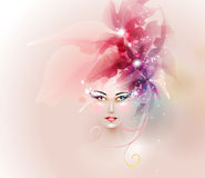 Design elements with woman face Royalty Free Stock Photos