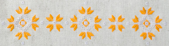 Design embroidered background for banner. Ethnic traditional pattern. Royalty Free Stock Photo