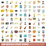 100 design essay icons set, flat style. 100 design essay icons set in flat style for any design vector illustration Stock Images