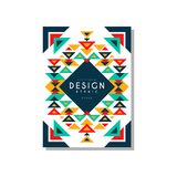 Design ethnic style card temlate, colorful ethno tribal geometric ornament, trendy pattern element for business, logo. Invitation, flyer, poster, banner vector Stock Photo