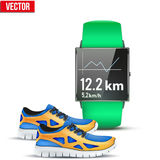 Design example sport wrist Smartwatch for run. And fitness with chart on display and sneakers. Vector Illustration on white background Stock Photos